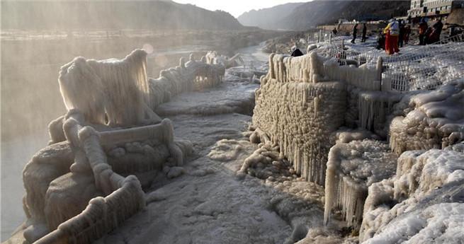 Naturspektakel: gefrorener Hukou-Wasserfall