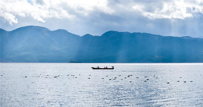Schöne Landschaft am Lugu-See im südwestchinesischen Yunnan