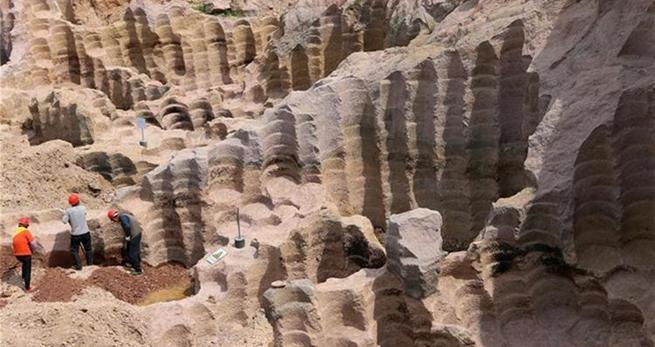 600-j?hrige Steinmühlegruben in Shandong