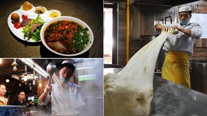 Handgezogene Nudeln ,Lamian,Lanzhou,Spezialität