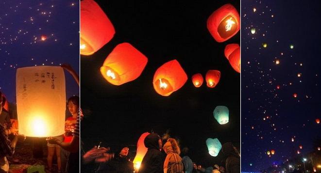 Kongming-Laternen ,Neujahr , Dai