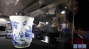 Sonderausstellung zu blauwei?em Porzellan in Shanghai