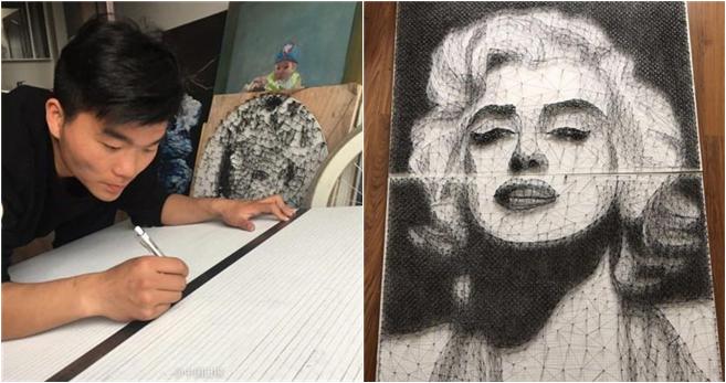 Chinesischer Student malt Marilyn Monroe mit Nägeln und Fäden
