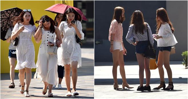 Bei 38 Grad Celsius zeigen die Frauen ihre Sommermode