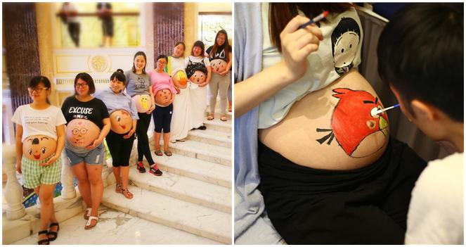 Ostchina: 50 werdende Väter präsentieren Bauchbemalung
