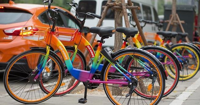 Regenbogen-Leihfahrr?der in Beijing