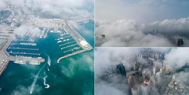 Qingdao im Küstennebel gleicht einer Traumlandschaft