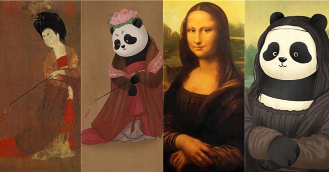 Chinesischer Panda erobert berühmte Gemälde