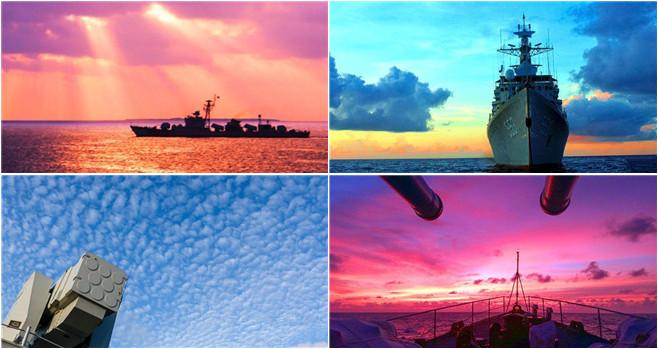 Schiffe der Marine auf hoher See