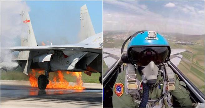 J-15 Kampfjet kollidiert mit Vögeln und geht in Flammen auf