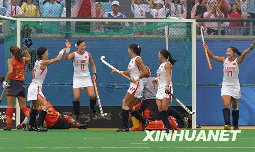 中国女子ホッケー スペインに圧...