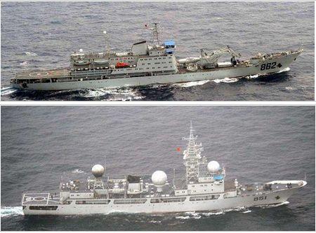 日本自衛隊が撮影した沖縄近を海通過した中国艦艇