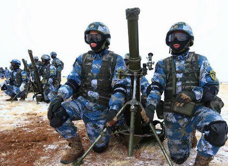 中国海軍陸戦隊、寒冷地で訓練を...