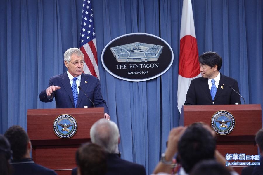 アメリカのヘーゲル国防長官(左)と日本の小野寺五典防衛大臣は7月11日... 米国のヘーゲル国防