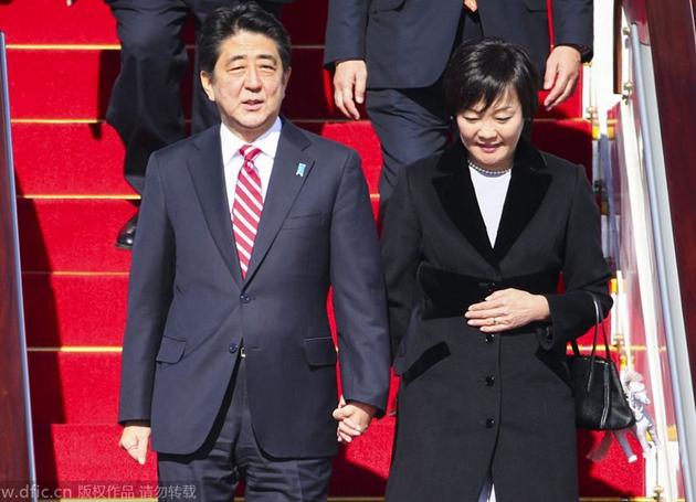 日本の安倍晋三首相が北京に到着コメント