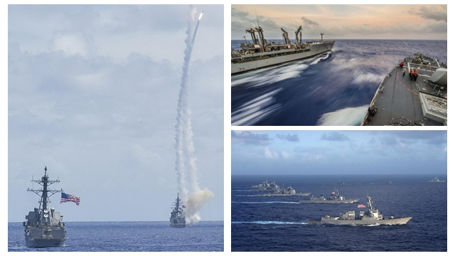 日米海軍がグアムで合同演習 戦艦が大群でミサイル連射