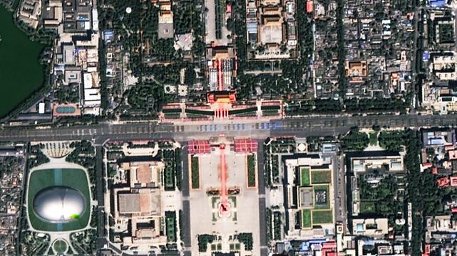 ユニークなアングル!50万メートル上空から見た抗日戦争閲兵式
