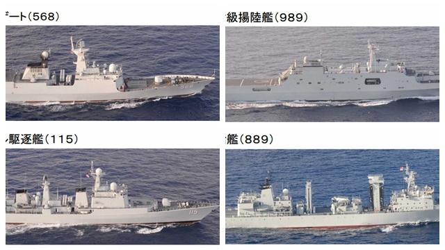 日本の軍機、中国艦の海上補給を盗撮