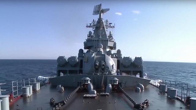 ロシア巡洋艦がシリアに展開 防空任務を担当