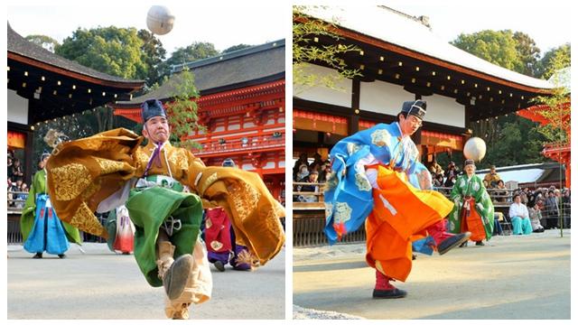 京都の神社、唐風の「蹴鞠初め」
