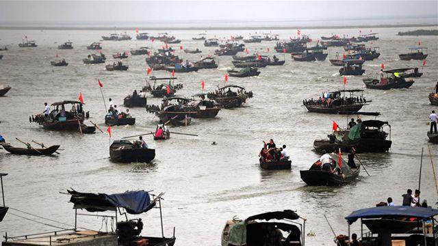 中国最大の淡水湖、鄱陽湖の禁漁期が終了