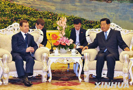Встреча Цзя Цинлиня с президентом РФ Д. Медведевым