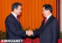 Председатель КНР Ху Цзиньтао встретился с премьер-министром Дании