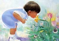 Дети, изображенные на картинах, написанных акварелью