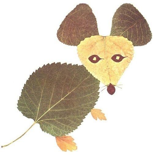 Оригинальные поделки из листьев