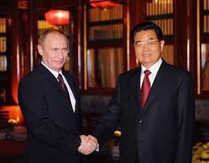 Председатель КНР Ху Цзиньтао встретился с премьер-министром РФ В. Путиным