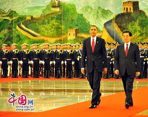 Председатель КНР Ху Цзиньтао организовал церемонию встречи президента США