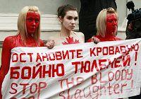 Не взирая не холод, перед посольством Канады в России три русских девушки в купальниках выразили протест против решения канадского правительства, разрешившего охоту на тюленей.