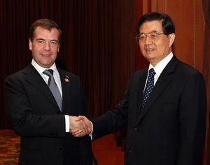 Председатель КНР Ху Цзиньтао провел встречу с президентом РФ Д. Медведевым