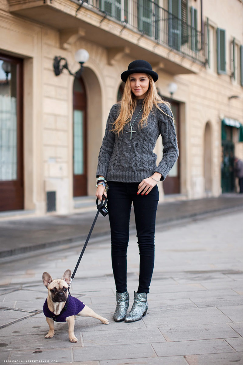 Woman Fur Coat Walking Dog