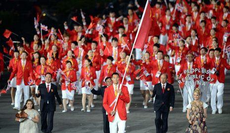 Китайская спортивная делегация на церемонии открытия лондонской Олимпиады