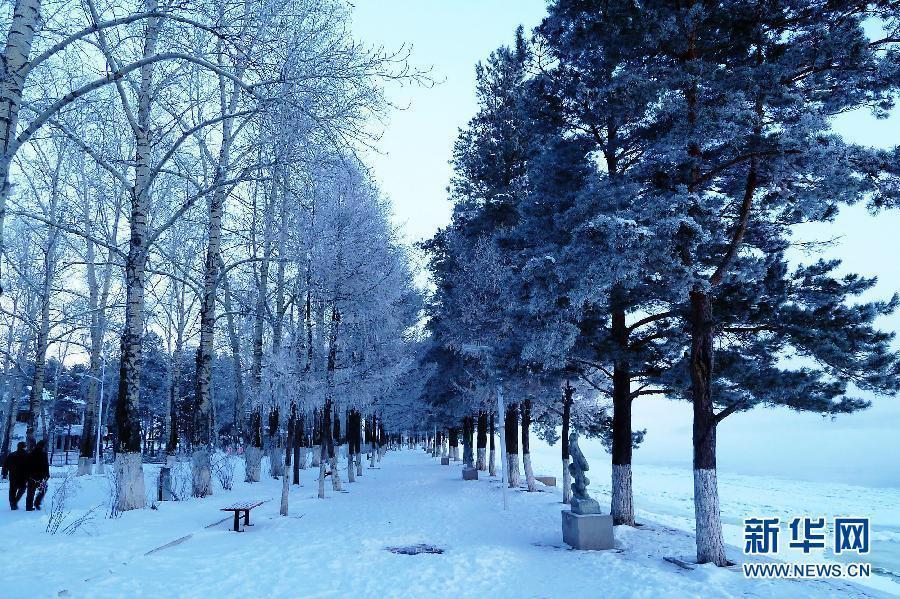Очаровательные пейзажи начала зима на берегах китайско-российской пограничной реки «Хэйлунцзян»