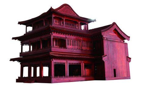 Деревянные модели достопримечательностей в парке Юаньминъюань