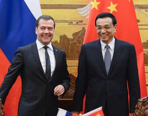 Ли Кэцян и Д. Медведев сопредседательствовали на 18-й регулярной встрече глав правительств КНР и РФ