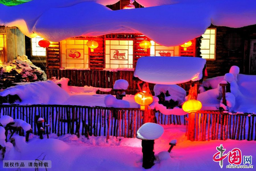 Ночные пейзажи Родины снега Китая