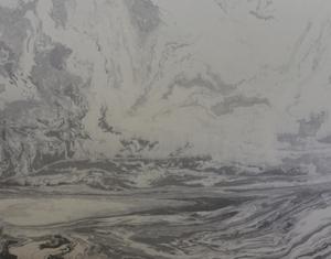 Современная картина тушью без пера выполнена в районе Цзычуань провинции Шаньдун