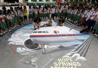 Филиппинские художники создают 3D-рисунок пропавшего самолета малазийской авиакомпании