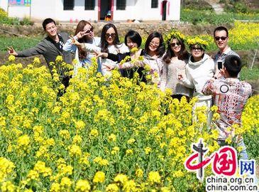 Красивые цветы рапса в селе Уюань провинции Цзянси