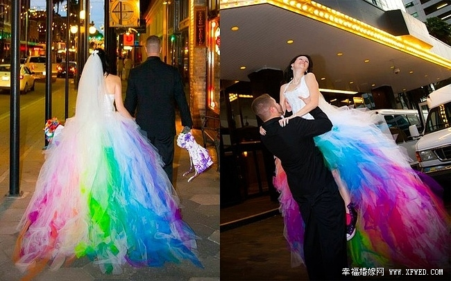 Свадебное радужное платье