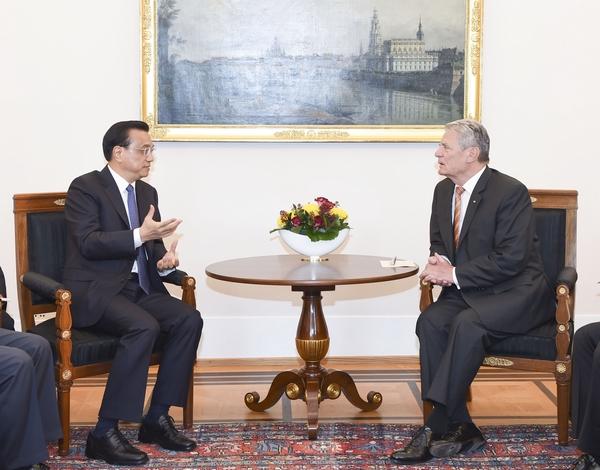 Встреча Ли Кэцяна и президента Германии Й. Гаука