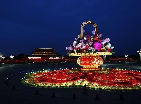 Прекрасные ночные виды площади Тяньаньмэнь