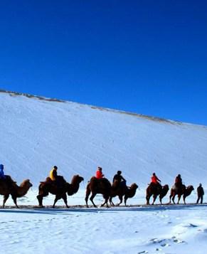 Очаровательные пейзажи заснеженного Дуньхуана