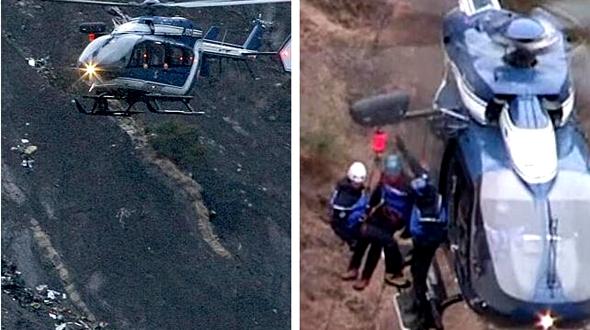 Поисковая операция на месте авиакатастрофы в Альпах