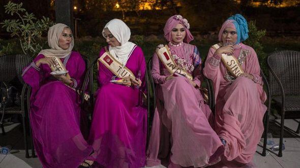 Участницы конкурса красоты ?Мисс мусульманка мира?