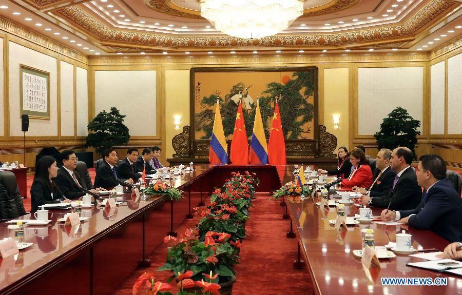 Чжан Дэцзян встретился с председателем Конгресса Колумбии Х.Д.Наме Кардозо