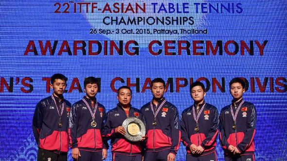 Китайские спортсмены в 9-й раз выиграли мужские командные соревнования на чемпионате Азии по настольному теннису-2015